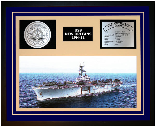 USS NEW ORLEANS LPH-11 Framed Navy Ship Display Blue