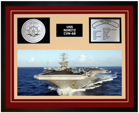 USS NIMITZ CVN-68 Framed Navy Ship Display Burgundy