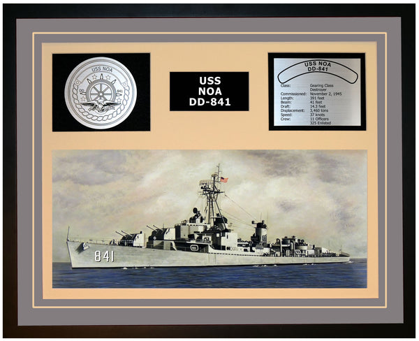 USS NOA DD-841 Framed Navy Ship Display Grey