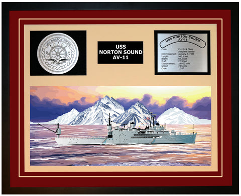 USS NORTON SOUND AV-11 Framed Navy Ship Display Burgundy