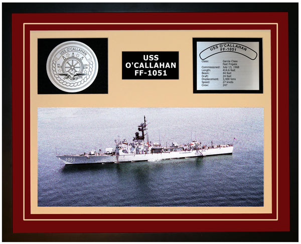 USS O'CALLAHAN FF-1051 Framed Navy Ship Display Burgundy