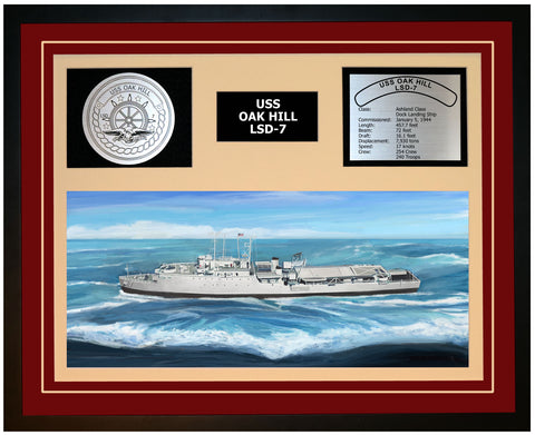 USS OAK HILL LSD-7 Framed Navy Ship Display Burgundy
