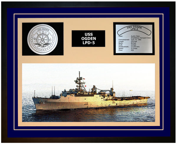USS OGDEN LPD-5 Framed Navy Ship Display Blue