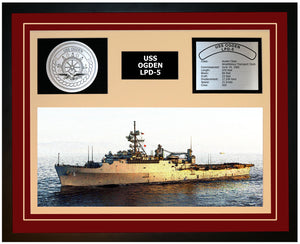 USS OGDEN LPD-5 Framed Navy Ship Display Burgundy