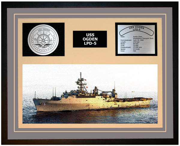 USS OGDEN LPD-5 Framed Navy Ship Display Grey