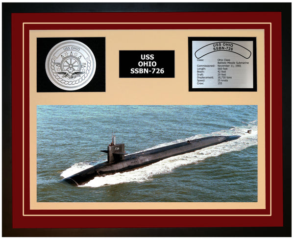 USS OHIO SSBN-726 Framed Navy Ship Display Burgundy