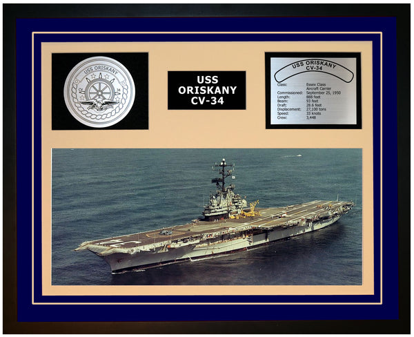 USS ORISKANY CV-34 Framed Navy Ship Display Blue