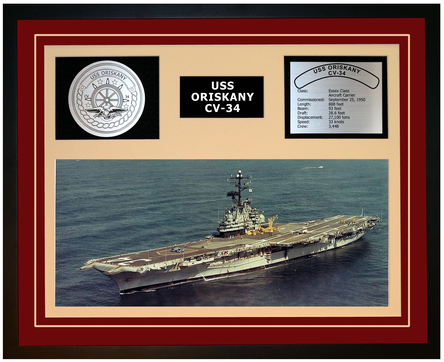 USS ORISKANY CV-34 Framed Navy Ship Display Burgundy