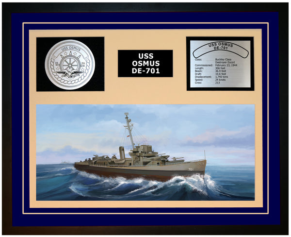 USS OSMUS DE-701 Framed Navy Ship Display Blue