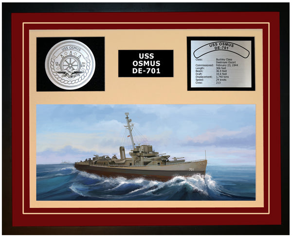 USS OSMUS DE-701 Framed Navy Ship Display Burgundy