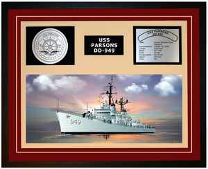 USS PARSONS DD-949 Framed Navy Ship Display Burgundy