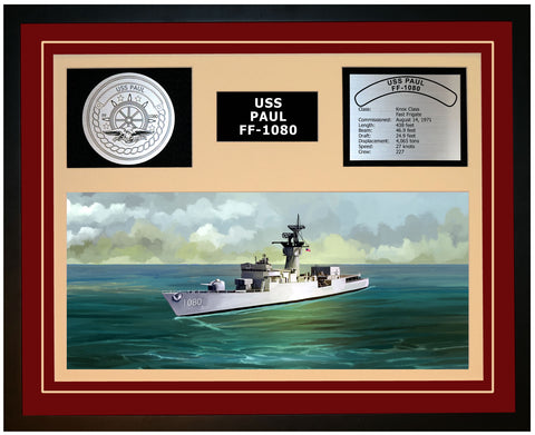 USS PAUL FF-1080 Framed Navy Ship Display Burgundy