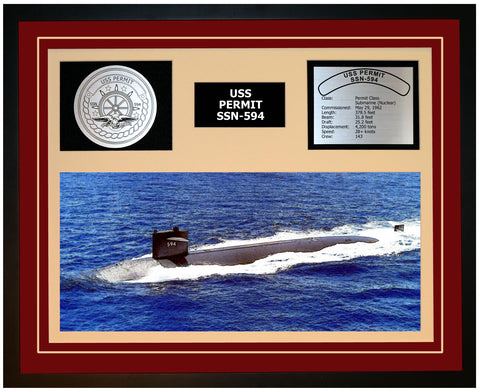 USS PERMIT SSN-594 Framed Navy Ship Display Burgundy
