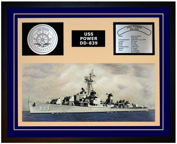 USS POWER DD-839 Framed Navy Ship Display Blue