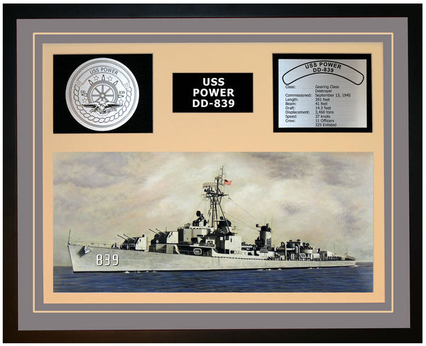 USS POWER DD-839 Framed Navy Ship Display Grey
