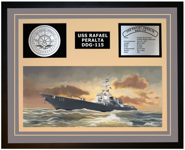 USS RAFAEL PERALTA DDG-115 Framed Navy Ship Display Grey
