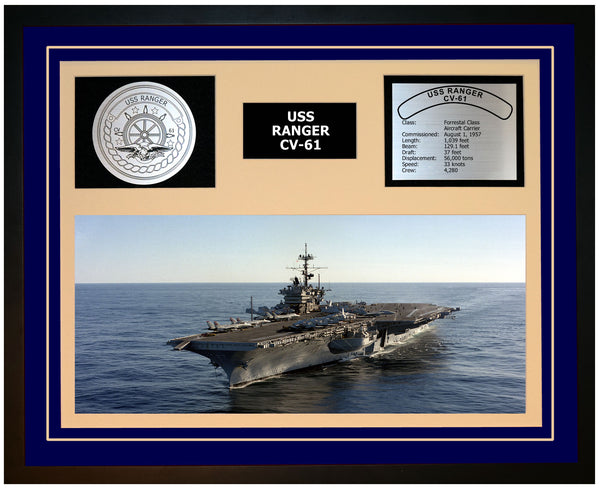 USS RANGER CV-61 Framed Navy Ship Display Blue