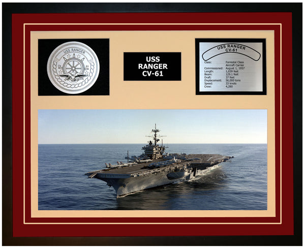 USS RANGER CV-61 Framed Navy Ship Display Burgundy