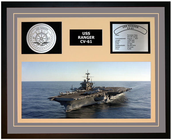 USS RANGER CV-61 Framed Navy Ship Display Grey