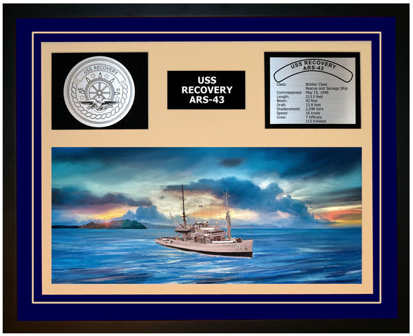 USS RECOVERY ARS-43 Framed Navy Ship Display Blue