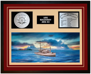 USS RECOVERY ARS-43 Framed Navy Ship Display Burgundy