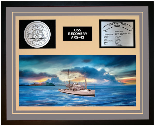 USS RECOVERY ARS-43 Framed Navy Ship Display Grey