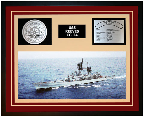 USS REEVES CG-24 Framed Navy Ship Display Burgundy