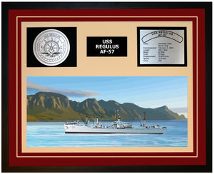 USS REGULUS AF-57 Framed Navy Ship Display Burgundy