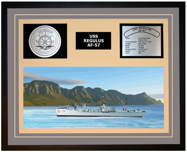 USS REGULUS AF-57 Framed Navy Ship Display Grey