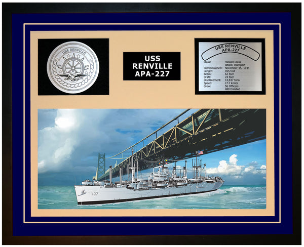 USS RENVILLE APA-227 Framed Navy Ship Display Blue