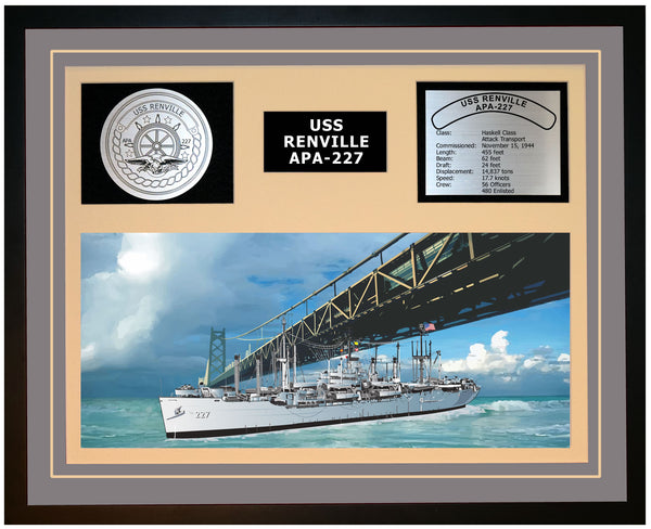 USS RENVILLE APA-227 Framed Navy Ship Display Grey