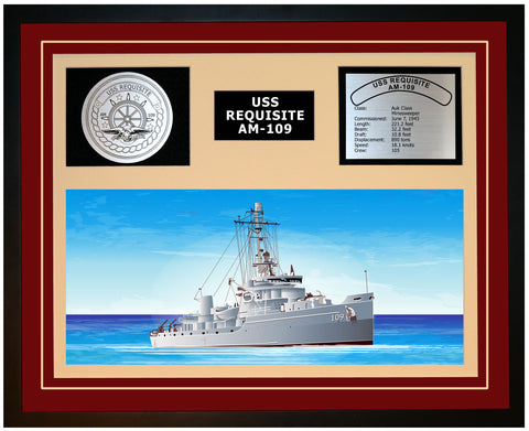 USS REQUISITE AM-109 Framed Navy Ship Display Burgundy