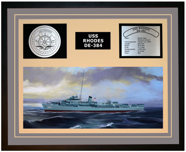 USS RHODES DE-384 Framed Navy Ship Display Grey