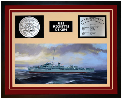USS RICKETTS DE-254 Framed Navy Ship Display Burgundy