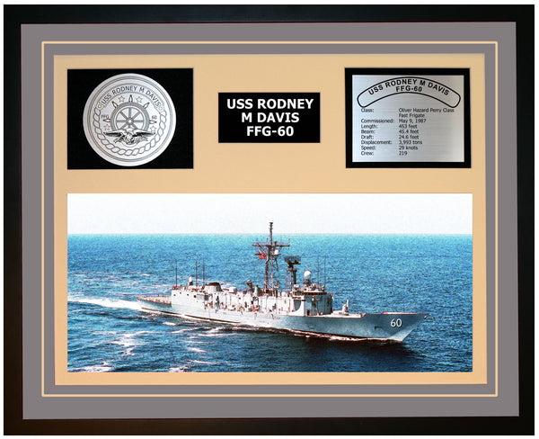 USS RODNEY M DAVIS FFG-60 Framed Navy Ship Display Grey