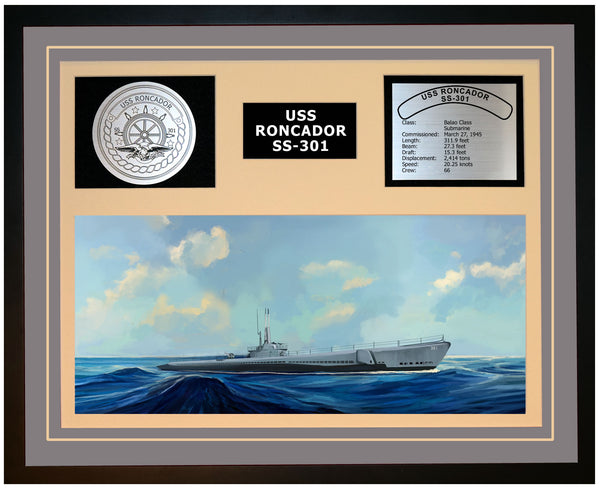 USS RONCADOR SS-301 Framed Navy Ship Display Grey
