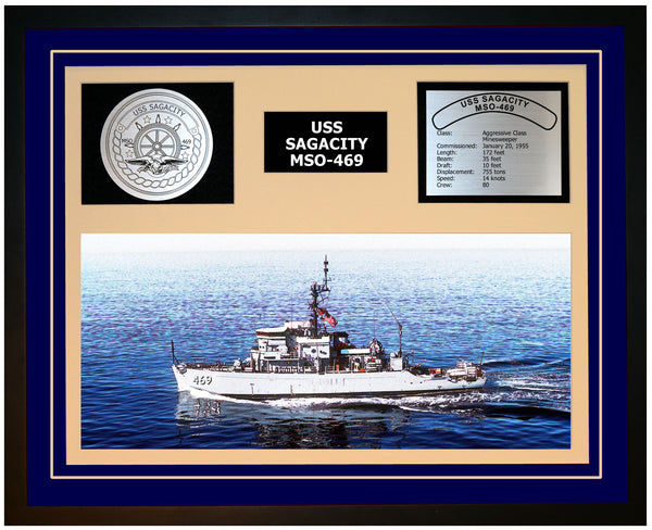 USS SAGACITY MSO-469 Framed Navy Ship Display Blue