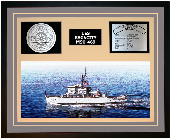 USS SAGACITY MSO-469 Framed Navy Ship Display Grey