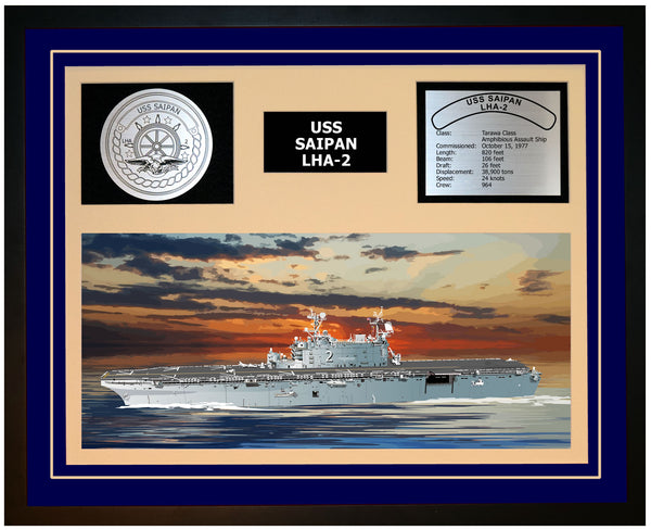 USS SAIPAN LHA-2 Framed Navy Ship Display Blue