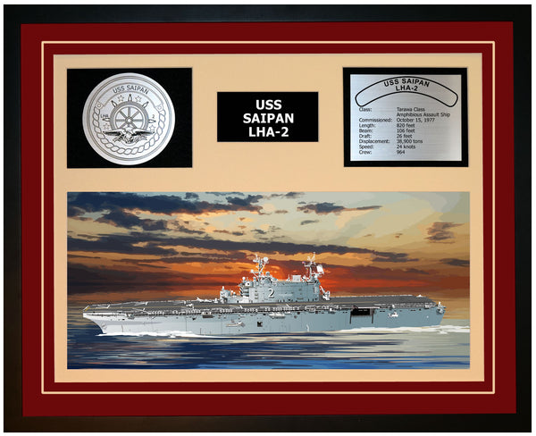 USS SAIPAN LHA-2 Framed Navy Ship Display Burgundy