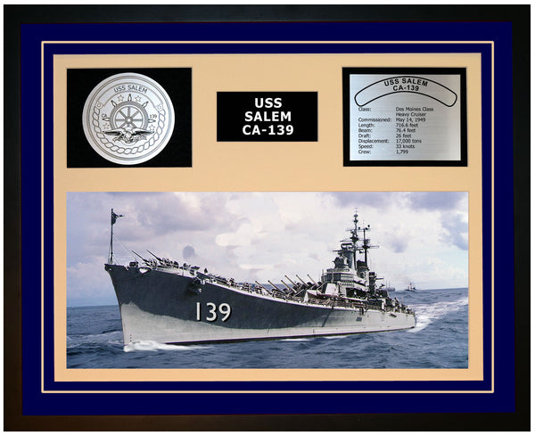 USS SALEM CA-139 Framed Navy Ship Display Blue