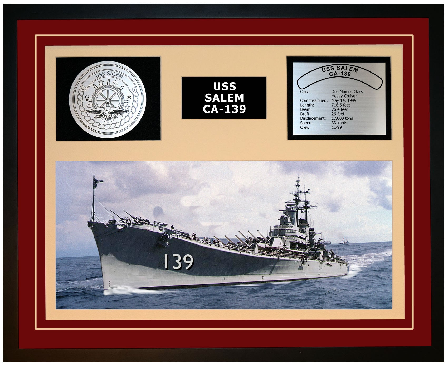 USS SALEM CA-139 Framed Navy Ship Display Burgundy