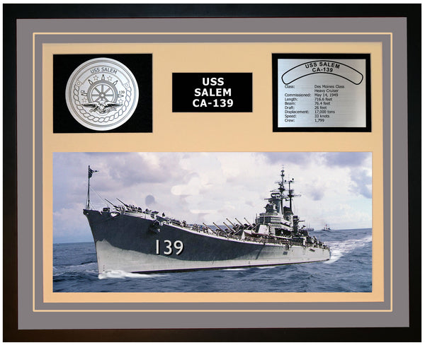 USS SALEM CA-139 Framed Navy Ship Display Grey
