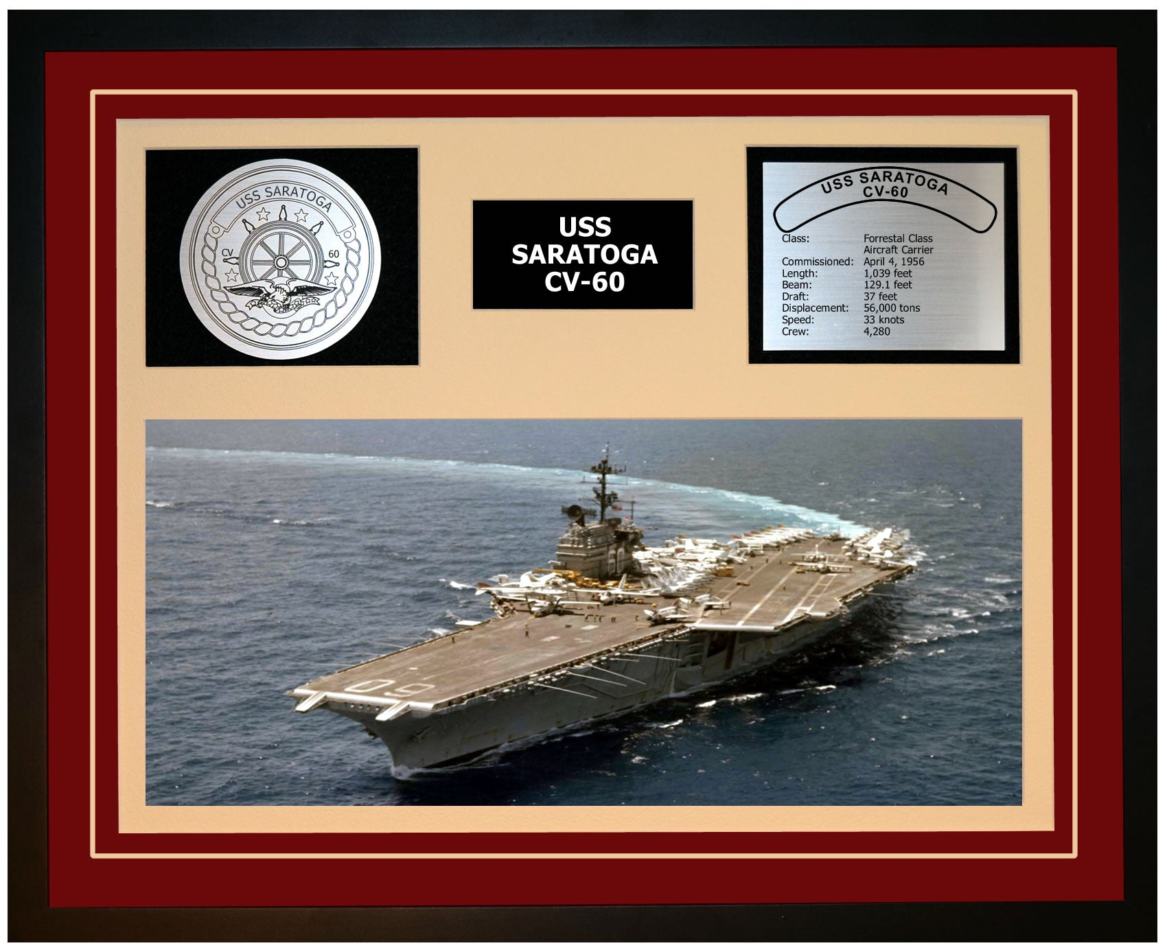 USS SARATOGA CV-60 Framed Navy Ship Display Burgundy