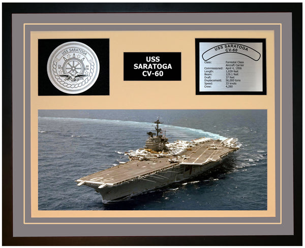 USS SARATOGA CV-60 Framed Navy Ship Display Grey