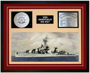 USS SARSFIELD DD-837 Framed Navy Ship Display Burgundy