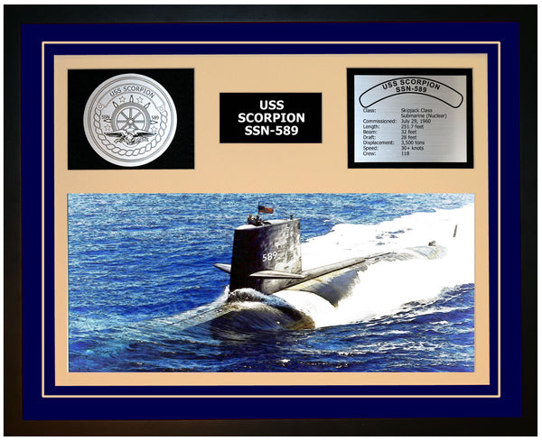 USS SCORPION SSN-589 Framed Navy Ship Display Blue