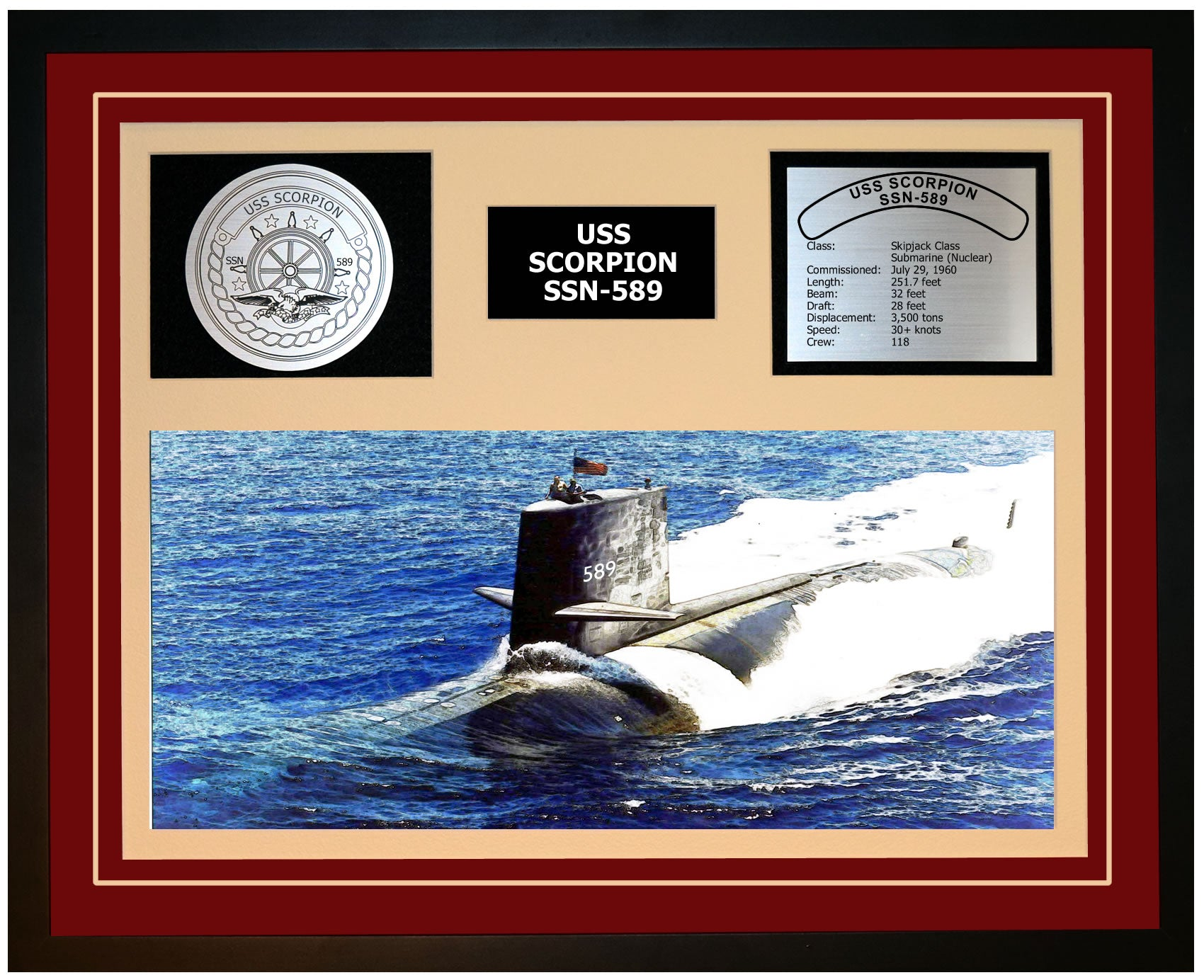 USS SCORPION SSN-589 Framed Navy Ship Display Burgundy