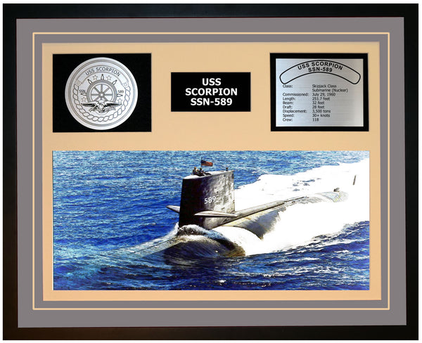 USS SCORPION SSN-589 Framed Navy Ship Display Grey