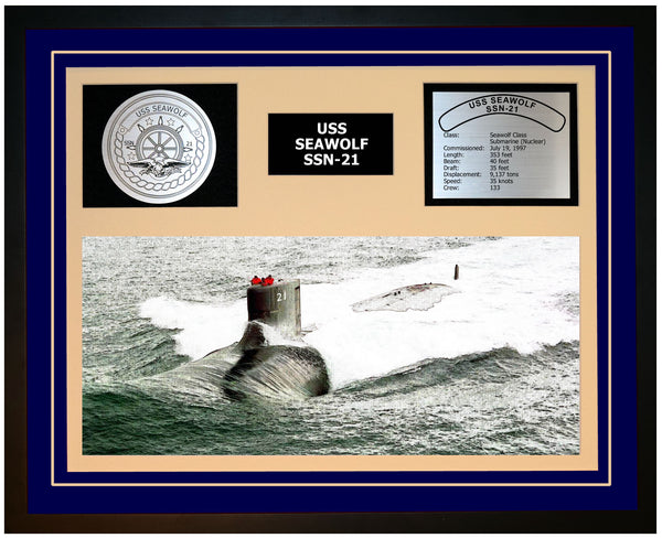 USS SEAWOLF SSN-21 Framed Navy Ship Display Blue